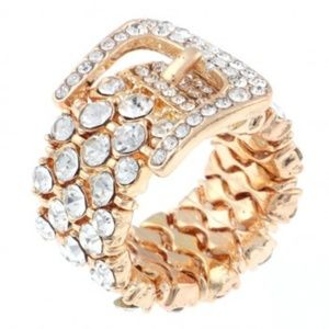New Gold tone Stretch Ring with Rhinestones